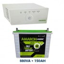 Amaron 880VA Sinewave Inverter UPS and Tall Tubular 150AH Battery Combo